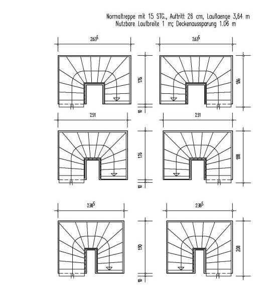 treppengrundrisse f r 2 4 mittel gewendelte treppen mit ma en. Black Bedroom Furniture Sets. Home Design Ideas